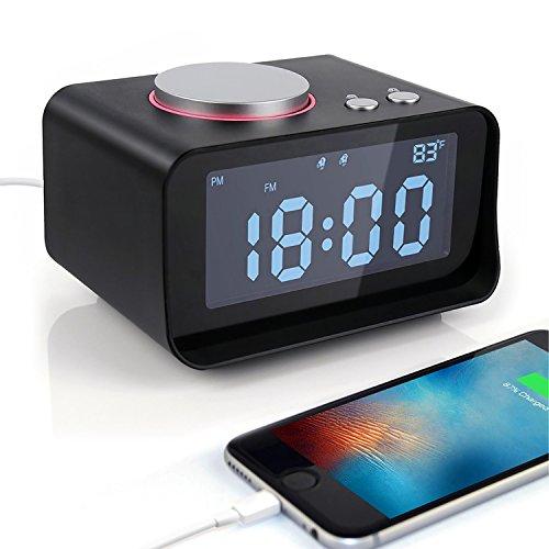 Wecker 220 (Yiiyaa Digitaler Wecker Digital Funkuhr Funkwecker Digitalwecker Funk Radiowecker Licht mit Dual-Alarm, USB-Ladeanschluss, FM Radio, 3.2