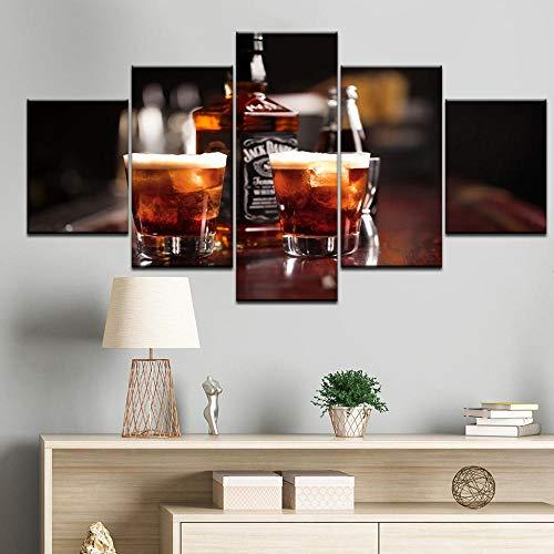 WLHWLH5 Stücke HD canvasModular Pictures Panel Sekt Champagner Whisky Bier Bar Likör Poster Wandbilder Gemälde Bar Restaurant Dekor