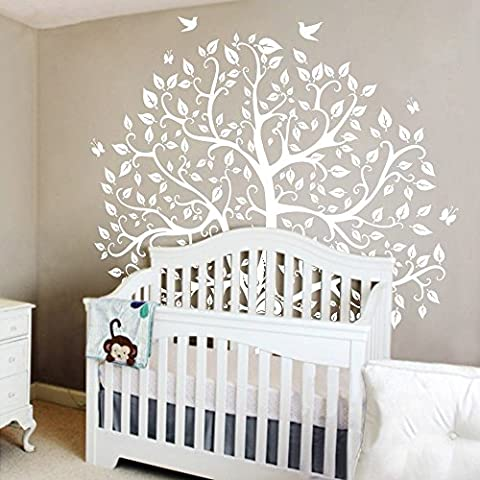 mairgwall diseño de la naturaleza árbol adhesivos pegatinas de pared de pared pared adhesivo de vinilo árbol y pájaros, vinilo, blanco, 96