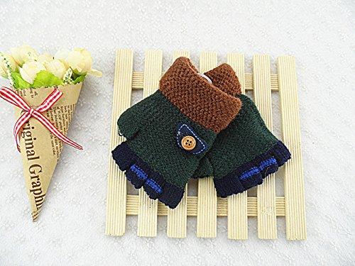 QH Männer und Frauen im Winter Warme Kinder Gestrickte Handschuhe Süßes Schreiben Täglich Halbfinger-Handschuhe,E,Der gesamte...