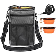 InnoGear Dog Training Treat Bag with 2 Collapsible Travel Pet Bowls, Poop Bag Dispenser and Puppy Clicker, Waterproof Walking Storage Pouch with Adjustable Reflective Shoulder Waist Belt (Grey)