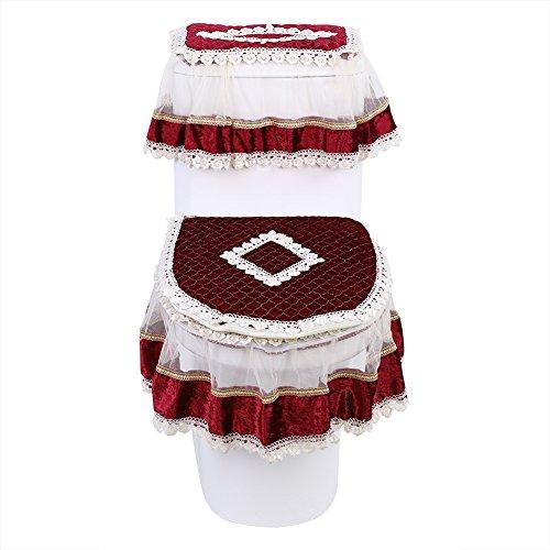 (Spitze 3 Stücke Set Tank Abdeckung Wc-sitz Deckel U Form Ring Mantel Dekoration Matte Waschbar Kissen Reinigung Pad bad (Burgundy))