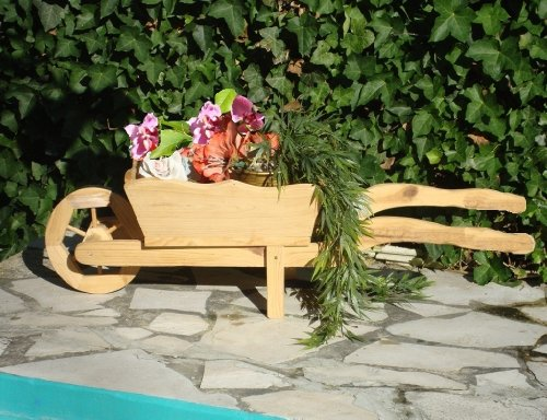 hundeinfo24.de Große Holz-Schubkarre zum Bepflanzen, Blumentöpfe, Pflanzkübel, Pflanzkasten, Blumenkasten, Pflanzhilfe, Pflanzcontainer, Pflanztröge, Pflanzschale, Kleine Schubkarren 85 cm mit Holz – Deko HSC-85-GEFLAMMT Blumentopf, Holz, gebrannt geflammt schwarz-natur Deko für aus – Pflanzgefäß, Pflanztöpfe