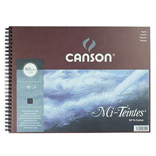 Canson : Mi-Teintes : Pastel Pad : Spiral : 32x41cm : 16 Sheets : Black -
