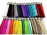 30Stück von Mehrfarbig Leder Quaste mit Silber Kappen Handy Straps/DIY CHARMS