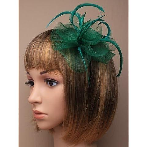tocado para el cabello con redecilla y plumas lleva una diadema fina adecuada para
