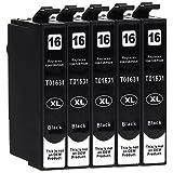 5 Cartouches d'Encre compatible avec Epson 16-XL / T1621 / T1631 (Noir) pour Epson WorkForce WF-2010 WF-2500 WF-2510 WF-2520 WF-2530 WF-2540 WF-2630 WF-2650 WF-2660 WF-2700 WF-2750 WF-2760