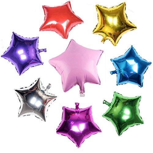 Preisvergleich Produktbild UEETEK 8ST Helium Folienballon mit fünfzackigen Stern für Hochzeit Sfeier (zufällige Farbe)