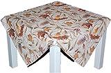 klassische Tischdecke 110x110 cm eckig Mitteldecke pflegeleicht bügelfrei preiswert creme BLäTTER farbig Deko Herbst (Mitteldecke 110x110 cm)