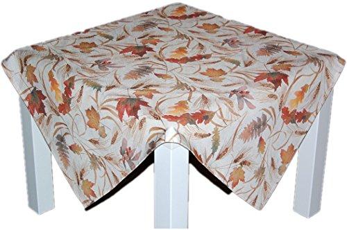 Klassische Tischdecke 85x85 cm eckig Mitteldecke pflegeleicht bügelfrei preiswert Creme BLäTTER farbig Deko Herbst (Mitteldecke 85x85 cm) (Halloween Tischdekoration Preiswerte)