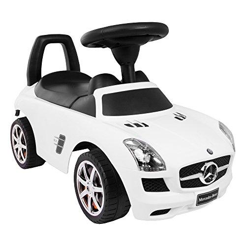 KP0231 Weiss Kinderspielzeug-Auto zum Aufsitzen/Schieben, Mercedes-Auto mit Sound-Effekten - On Car Kids Ride Mercedes