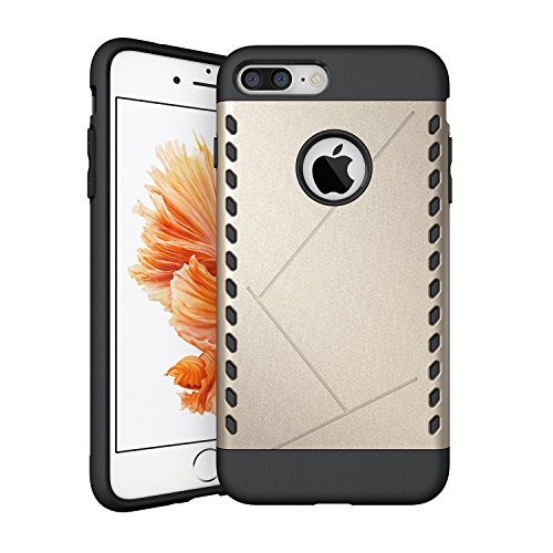 iPhone 7 Plus Coque,EVERGREENBUYING Ultra Slim 2 léger couche IPHONE 7+ Premium TPU Souple Etui de Protection, absorbant les chocs Anti-rayures Case Cover pour Apple iPhone 7 Plus Gris Or
