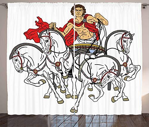 ABAKUHAUS Toga-Party Rustikaler Gardine, Hellenischer Mann Chariot, Schlafzimmer Kräuselband Vorhang mit Schlaufen und Haken, 280 x 260 cm, Mehrfarbig (Toga Der Männer)