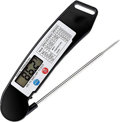 TraderPlus Digitales Fleischthermometer, sofortiges Ablesen von Lebensmitteln, Thermometer für Küche, Backofen, Grill, Wasser, Bier, Milch, Badewasserfühler, Steak