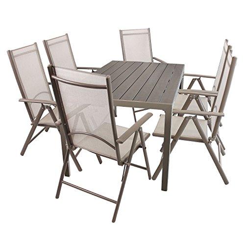 Wohaga Gartenmöbel Set Gartentisch, Aluminiumrahmen Champagnerfarben, Polywoodtischplatte, 150x90cm + 6X Hochlehner, Aluminiumgestell, Textilenbespannung, Rückenlehne 7fach verstellbar, Champagner