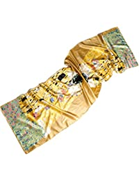 Prettystern - (limited Edition!) 170cm Reproduction Arte peinture - fait main - Echarpe en soie longue et épaisse - Gustav Klimt