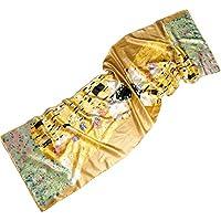 Prettystern - LUSSO 170cm Gustav Klimt Pittura Art Nouveau sciarpa di seta lungo handrolled raso pesante - 6 modello