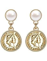 59c00b50aae8 AllRing - Pendientes elegantes de plata de ley 925 con perlas para mujer
