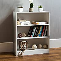 Home Discount Cambridge 3 Tier Low Bookcase, White Wooden Shelving Display Storage Unit Office Living Room Furniture