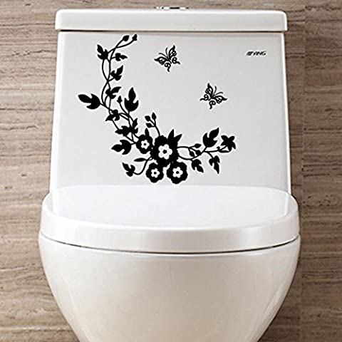 Kingko® Toilet Flower Butterfly Patterns Stickers Removable Decal Home Decor DIY Art Decoration