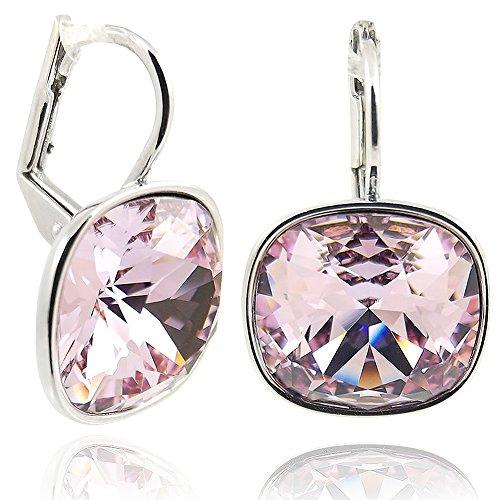 Ohrringe mit Kristallen von Swarovski® für Damen - Viele Farben - Silber - NOBEL SCHMUCK (Violet)