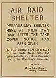 Vintage British WW2 1939-45 Propaganda AIR RAID SHELTER SIGN 250gsm Gloss Art Card A3 Reproduction Poster by World of Art