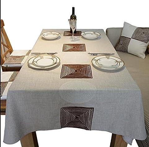 SQL Stickerei-Tischdecken Rechteck Tischdecke aus Baumwolle Esstisch . 100*140cm