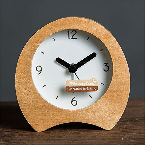 AIZIJI Reloj de Alarma de Madera Simple Creativa Noche silenciosa Snooze Función Estudiante de los Niños Oficina de Dormitorio de los Trabajadores Dormitorio, Ronda de Registro de Color