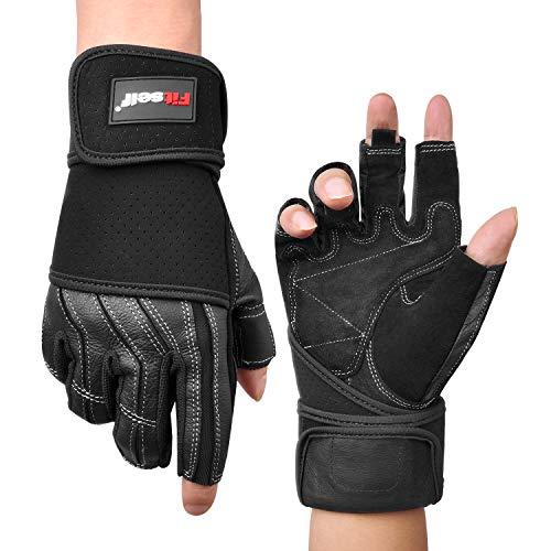 Fitself Fitness Handschuhe Echt Leder Trainingshandschuhe mit Handgelenkstütze rutschfest für Herren Damen Gym Gewichtheben Baseball Golf Reiten