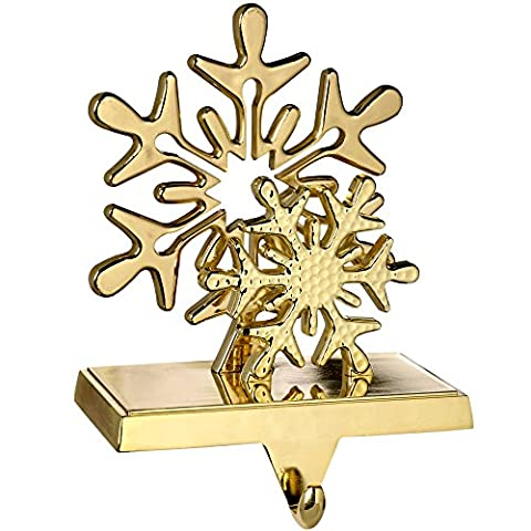 WeRChristmas Plated Snowflake Stocking Holder Christmas Decoration, Metal - 17 cm, Gold
