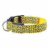 sijueam Leopard Muster LED Hundehalsband, Verstellbar blinkendes Halsband Leuchthalsband Sicherheit Hund Halskette Loop Nylon Welpen Illuminating, mit verstellbare Schnalle, 6Farben Gelb Type 1 Yellow-XL xl