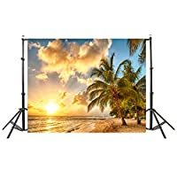 Honorall Summer Seascape Beach Dreamlike Haloes 3D Photography Background Screen Photo Video Photography Studio Fabric Props Backdrop