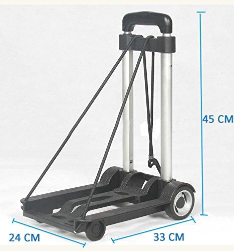 YiJee Carrello per Trasporto Pieghevole Easy Trolley con Corda Elastica Portata 40 Kg (Nero)