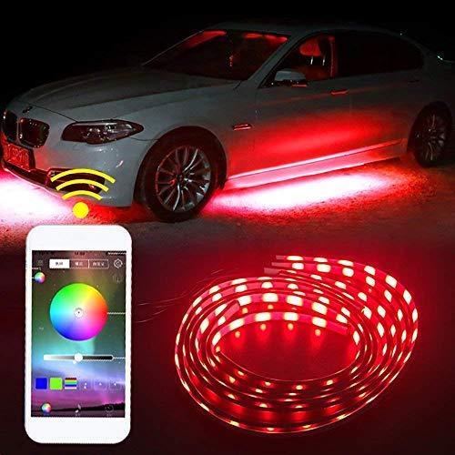 SHINFOK 4pz 90x120 cm Luce anabbagliante, Luce sottoscocca LED LStriscia audio Funzione di illuminazione sottoscocca Funzione Esecuzione di strisce di colori RGB Controllo delle app atmosfera luminos