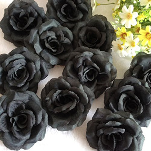 20 Stk. Schwarze Rose künstliche Seide Blume Party Hochzeit Haus Büro Garten Shop Dekor DIY (Und Blumen Schwarz Seide Weiß)