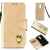 BONROY Hülle,Handyhülle LG K8/K7 Tasche Leder Flip Case Brieftasche Etui Schutzhülle für LG K8/K7-(Stereo Eule-Gold)