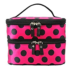 DATEWORK The large capacity Double Layer wave Point Cosmetic Bag Travel Toiletry Makeup Bag (Hot Pink + Black Spots)