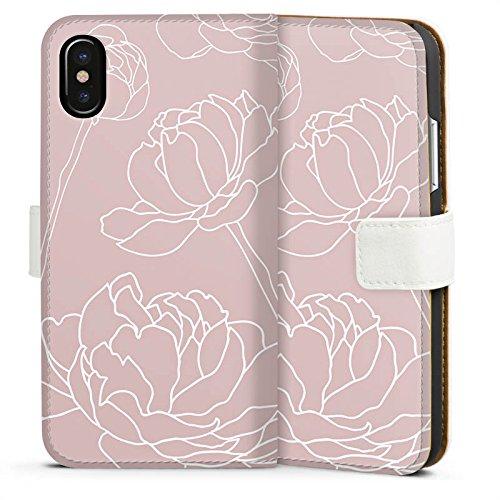 Apple iPhone X Silikon Hülle Case Schutzhülle Blumen Motiv Flower Sideflip Tasche weiß