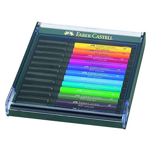 Faber-Castell 267421 - Tuschezeichner Pitt Artist Pen brush, 12-er Packung, Basic