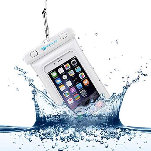 Power Theory wasserdichte Handyhülle - Wasserfeste Handytasche Handyschutz Cover Beutel Beachbag Tasche Handy Hülle Waterproof Case - iPhone X/XS 8 7 6s Samsung S10 S9 S8 S7 und viele mehr (Weiß) Band Mini-handy