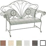 CLP Banco de jardín TJURE en el diseño nostálgico, de hierro barnizado, 140 x 58 cm, hasta 6 colores para eligir verde envejecido