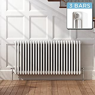 iBathUK | 600 x 1200 mm Traditional Cast Iron Style Horizontal Radiator White 3 Column