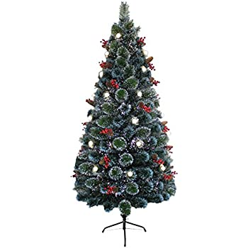 6ft Green Fibre Optic Christmas Tree Stars Baubles Concepts 72