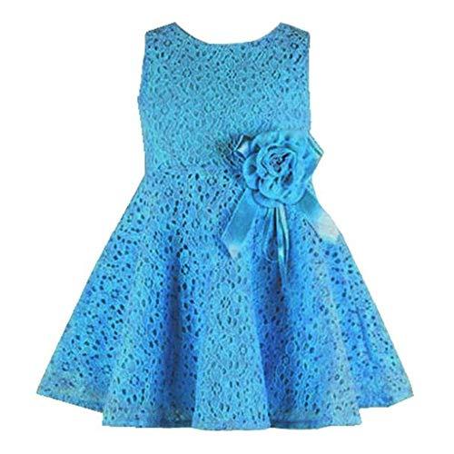 MOIKA Robe Florale Bebe Fille à Pois sans Manche Vintage Robe de Vacance Plage Eté Quotidien Casual Enfant Äge 12 Mois-6 Ans(Bleu,)