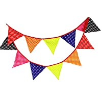 Wimagic 1x Fabric Bunting Banner Creative Chic Dot Printed Party Pennant Flags Garland Wedding Birthday Party Hanging Decoration for Living Room Children Room Garden