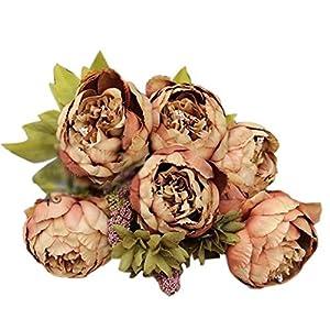 STRIR 1 Ramo 8 Cabezas de Flores Peonías Artificiales Decoración para Boda Fiesta Navidad Hogar (Marrón)