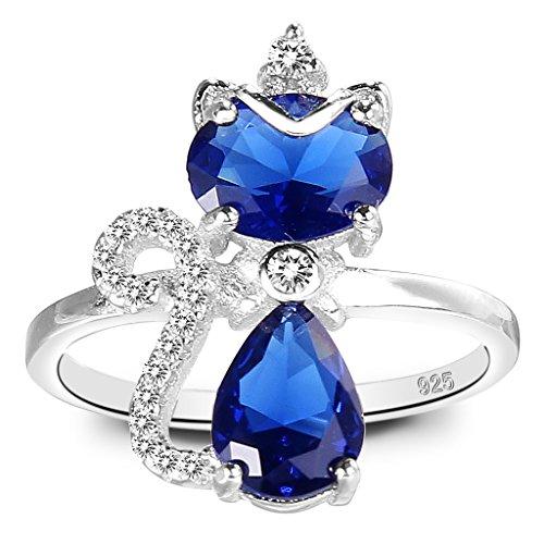 Clearine Damen 925 Sterling Silber Elegant Cubic Zirconia Cute Kitty Queen Verstellbar Cocktail Ring Saphirblau