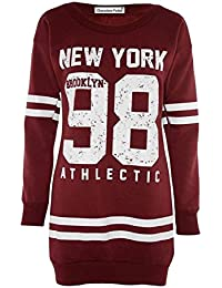 Frauen Plus Size 98 Newyork Varsity Winter-Vlies-Sweatshirt Lange Pullover Tops 36-50