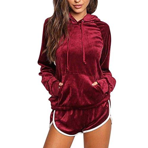 Bekleidung Damen 2pcs Bekleidungssets, ZIYOU Frauen Sport Hoodies Sweatshirt Lange Ärmel + Shorts Hosen Sets Anzug Velvet (Rot, S) (3-teiliges Samt-anzug)