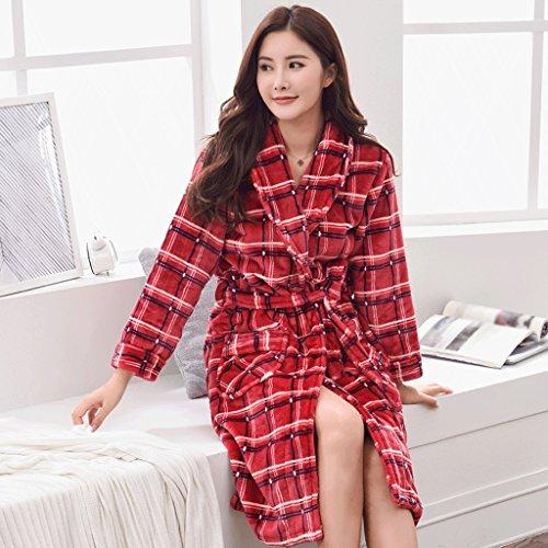 ZLR Herbst Und Winter Paar Schlaf Robe Plus Lange Männer Und Frauen Bademantel Verdickung Plaid Hause Kleidung Pyjamas ( größe : A-XXXL ) (Flanell Robe Plaid)
